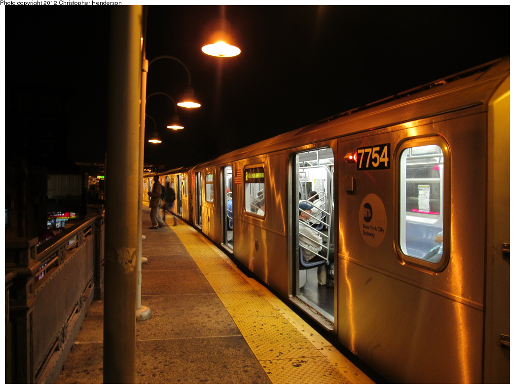 (281k, 1044x788)<br><b>Country:</b> United States<br><b>City:</b> New York<br><b>System:</b> New York City Transit<br><b>Line:</b> IRT White Plains Road Line<br><b>Location:</b> 174th Street <br><b>Route:</b> 2<br><b>Car:</b> R-142A (Supplemental Order, Kawasaki, 2003-2004)  7754 <br><b>Photo by:</b> Christopher Henderson<br><b>Date:</b> 10/6/2012<br><b>Viewed (this week/total):</b> 0 / 430