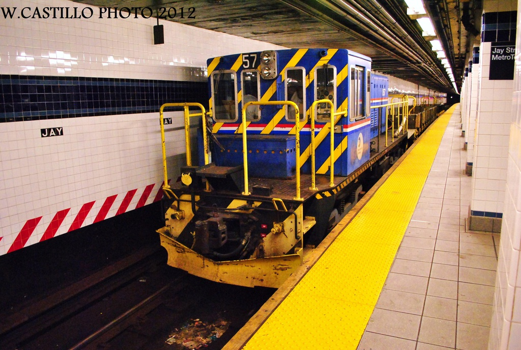 (348k, 1024x687)<br><b>Country:</b> United States<br><b>City:</b> New York<br><b>System:</b> New York City Transit<br><b>Line:</b> IND 8th Avenue Line<br><b>Location:</b> Jay St./Metrotech (Borough Hall) <br><b>Route:</b> Work Service<br><b>Car:</b> R-41 Locomotive  57 <br><b>Photo by:</b> Wilfredo Castillo<br><b>Date:</b> 9/23/2012<br><b>Viewed (this week/total):</b> 1 / 961