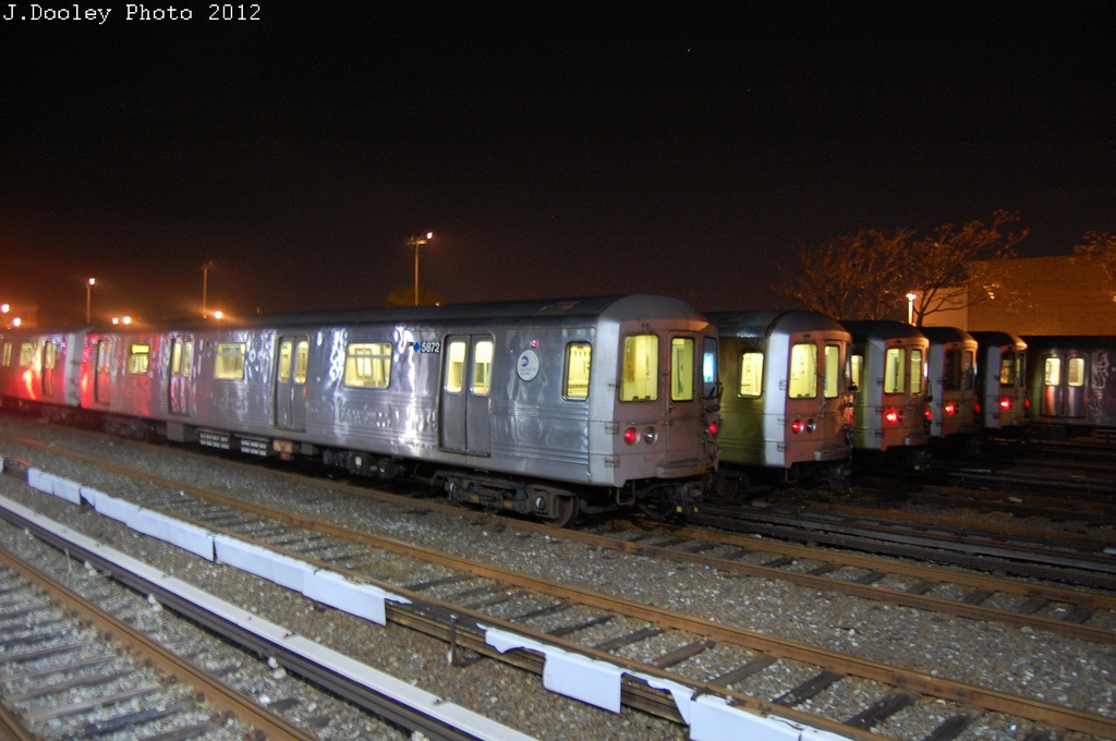 (281k, 1024x680)<br><b>Country:</b> United States<br><b>City:</b> New York<br><b>System:</b> New York City Transit<br><b>Location:</b> Rockaway Park Yard<br><b>Car:</b> R-46 (Pullman-Standard, 1974-75) 5872 <br><b>Photo by:</b> John Dooley<br><b>Date:</b> 10/22/2012<br><b>Viewed (this week/total):</b> 2 / 449