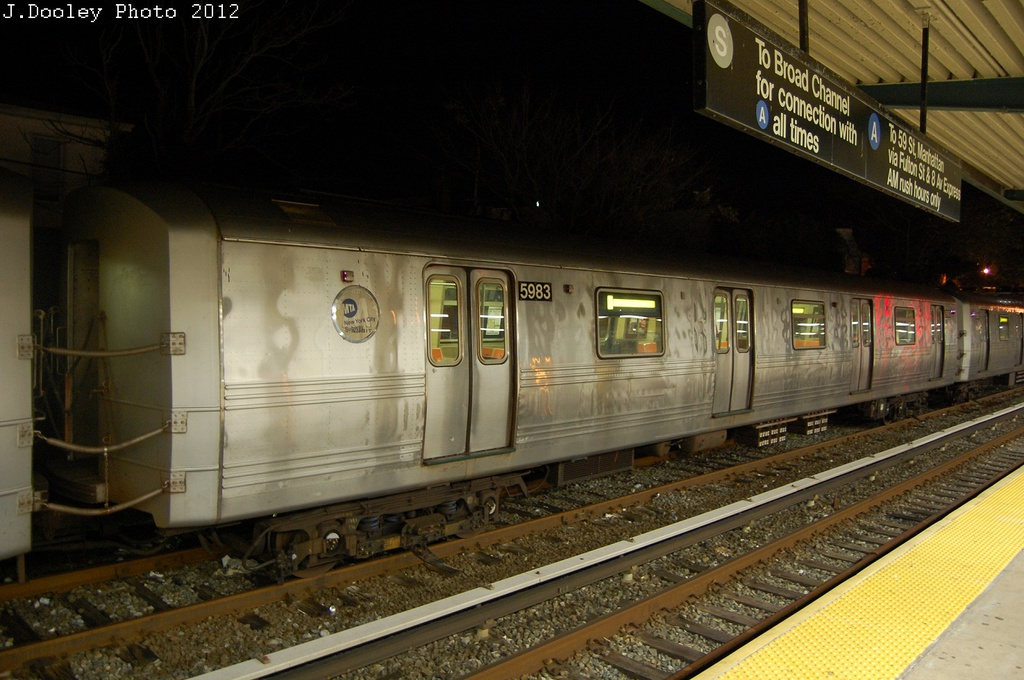 (297k, 1024x680)<br><b>Country:</b> United States<br><b>City:</b> New York<br><b>System:</b> New York City Transit<br><b>Location:</b> Rockaway Park Yard<br><b>Car:</b> R-46 (Pullman-Standard, 1974-75) 5983 <br><b>Photo by:</b> John Dooley<br><b>Date:</b> 10/23/2012<br><b>Viewed (this week/total):</b> 2 / 309