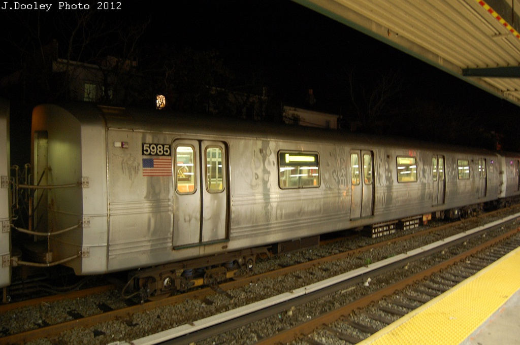 (254k, 1024x680)<br><b>Country:</b> United States<br><b>City:</b> New York<br><b>System:</b> New York City Transit<br><b>Location:</b> Rockaway Park Yard<br><b>Car:</b> R-46 (Pullman-Standard, 1974-75) 5985 <br><b>Photo by:</b> John Dooley<br><b>Date:</b> 10/23/2012<br><b>Viewed (this week/total):</b> 0 / 541