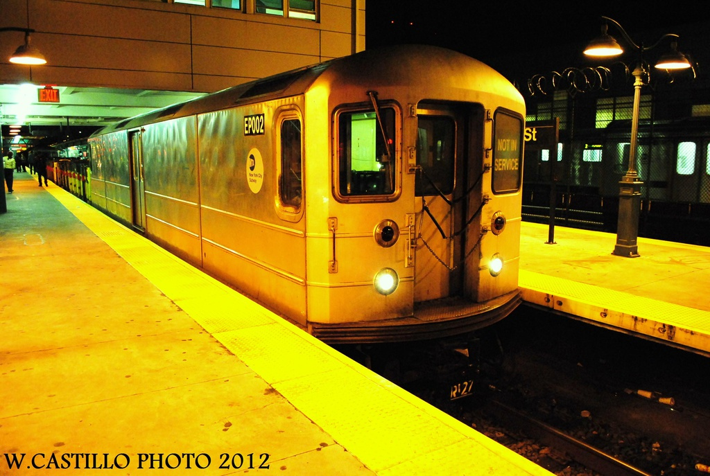 (307k, 1024x687)<br><b>Country:</b> United States<br><b>City:</b> New York<br><b>System:</b> New York City Transit<br><b>Line:</b> IRT White Plains Road Line<br><b>Location:</b> East 180th Street <br><b>Route:</b> Work Service<br><b>Car:</b> R-127/R-134 (Kawasaki, 1991-1996) EP002 <br><b>Photo by:</b> Wilfredo Castillo<br><b>Date:</b> 10/16/2012<br><b>Viewed (this week/total):</b> 2 / 281