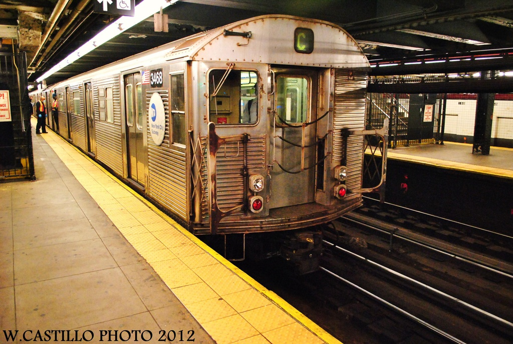 (364k, 1024x687)<br><b>Country:</b> United States<br><b>City:</b> New York<br><b>System:</b> New York City Transit<br><b>Line:</b> IND 8th Avenue Line<br><b>Location:</b> 168th Street <br><b>Route:</b> C<br><b>Car:</b> R-32 (Budd, 1964)  3468 <br><b>Photo by:</b> Wilfredo Castillo<br><b>Date:</b> 10/8/2012<br><b>Viewed (this week/total):</b> 1 / 360