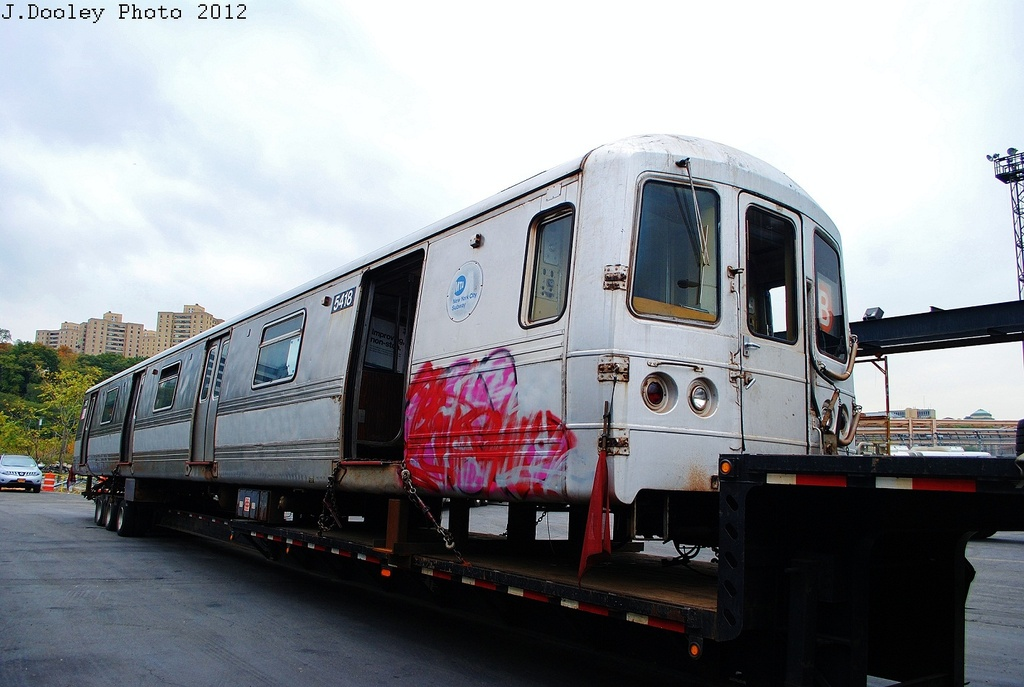 (276k, 1024x687)<br><b>Country:</b> United States<br><b>City:</b> New York<br><b>System:</b> New York City Transit<br><b>Location:</b> 207th Street Yard<br><b>Car:</b> R-44 (St. Louis, 1971-73) 5418 <br><b>Photo by:</b> John Dooley<br><b>Date:</b> 10/26/2012<br><b>Notes:</b> Scrapping<br><b>Viewed (this week/total):</b> 0 / 790