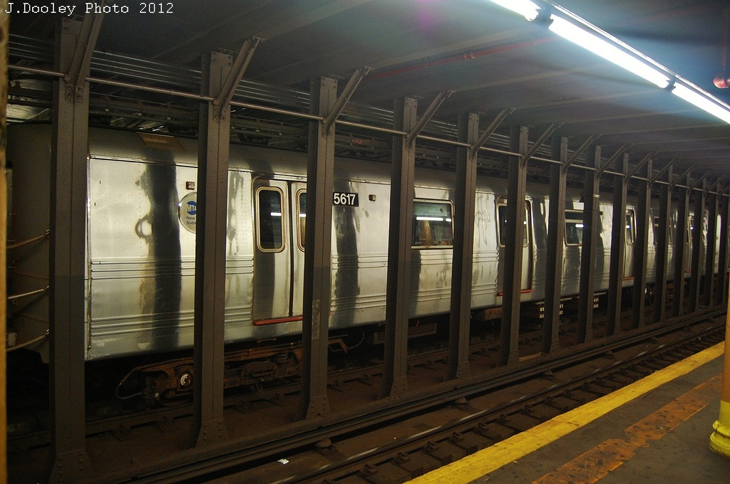 (321k, 1024x680)<br><b>Country:</b> United States<br><b>City:</b> New York<br><b>System:</b> New York City Transit<br><b>Line:</b> BMT 4th Avenue<br><b>Location:</b> 53rd Street <br><b>Route:</b> Layup<br><b>Car:</b> R-46 (Pullman-Standard, 1974-75) 5617 <br><b>Photo by:</b> John Dooley<br><b>Date:</b> 11/1/2012<br><b>Notes:</b> Hurricane Sandy layup<br><b>Viewed (this week/total):</b> 0 / 154