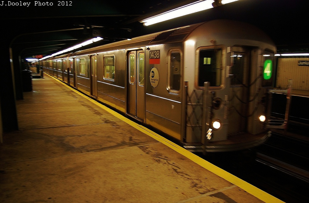 (325k, 1024x674)<br><b>Country:</b> United States<br><b>City:</b> New York<br><b>System:</b> New York City Transit<br><b>Line:</b> IRT Brooklyn Line<br><b>Location:</b> Junius Street <br><b>Route:</b> 4<br><b>Car:</b> R-62 (Kawasaki, 1983-1985)  1438 <br><b>Photo by:</b> John Dooley<br><b>Date:</b> 11/1/2012<br><b>Notes:</b> Post-Sandy: #3 line cars used on #4<br><b>Viewed (this week/total):</b> 2 / 743