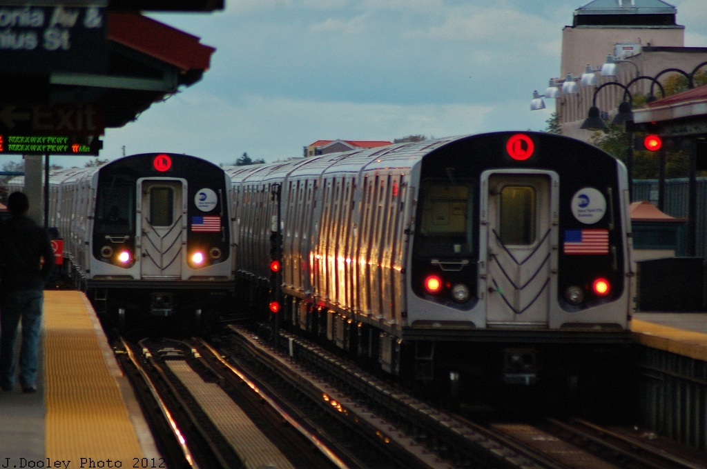 (287k, 1024x680)<br><b>Country:</b> United States<br><b>City:</b> New York<br><b>System:</b> New York City Transit<br><b>Line:</b> BMT Canarsie Line<br><b>Location:</b> Livonia Avenue <br><b>Route:</b> L<br><b>Car:</b> R-143 (Kawasaki, 2001-2002)  <br><b>Photo by:</b> John Dooley<br><b>Date:</b> 11/2/2012<br><b>Viewed (this week/total):</b> 0 / 780