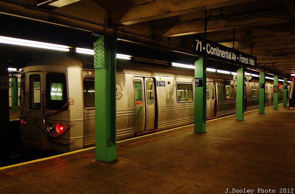 (325k, 1024x675)<br><b>Country:</b> United States<br><b>City:</b> New York<br><b>System:</b> New York City Transit<br><b>Line:</b> IND Queens Boulevard Line<br><b>Location:</b> 71st/Continental Aves./Forest Hills <br><b>Route:</b> Layup<br><b>Car:</b> R-46 (Pullman-Standard, 1974-75) 5766 <br><b>Photo by:</b> John Dooley<br><b>Date:</b> 11/4/2012<br><b>Notes:</b> Post-Sandy layup<br><b>Viewed (this week/total):</b> 0 / 995