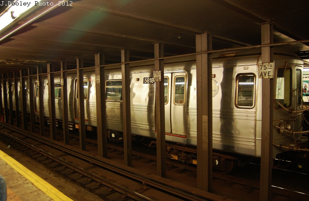 (292k, 1024x668)<br><b>Country:</b> United States<br><b>City:</b> New York<br><b>System:</b> New York City Transit<br><b>Line:</b> IND Queens Boulevard Line<br><b>Location:</b> 75th Avenue <br><b>Route:</b> Layup<br><b>Car:</b> R-46 (Pullman-Standard, 1974-75) 5818 <br><b>Photo by:</b> John Dooley<br><b>Date:</b> 11/4/2012<br><b>Notes:</b> Post-Sandy layup<br><b>Viewed (this week/total):</b> 8 / 1034