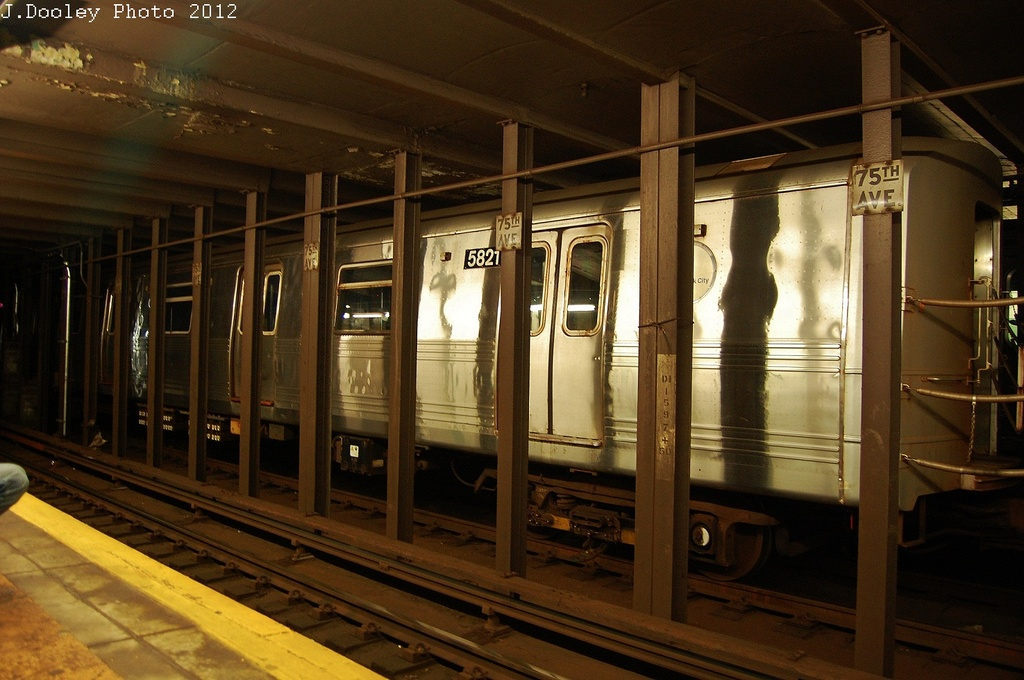 (312k, 1024x680)<br><b>Country:</b> United States<br><b>City:</b> New York<br><b>System:</b> New York City Transit<br><b>Line:</b> IND Queens Boulevard Line<br><b>Location:</b> 75th Avenue <br><b>Route:</b> Layup<br><b>Car:</b> R-46 (Pullman-Standard, 1974-75) 5821 <br><b>Photo by:</b> John Dooley<br><b>Date:</b> 11/4/2012<br><b>Notes:</b> Post-Sandy layup<br><b>Viewed (this week/total):</b> 0 / 230