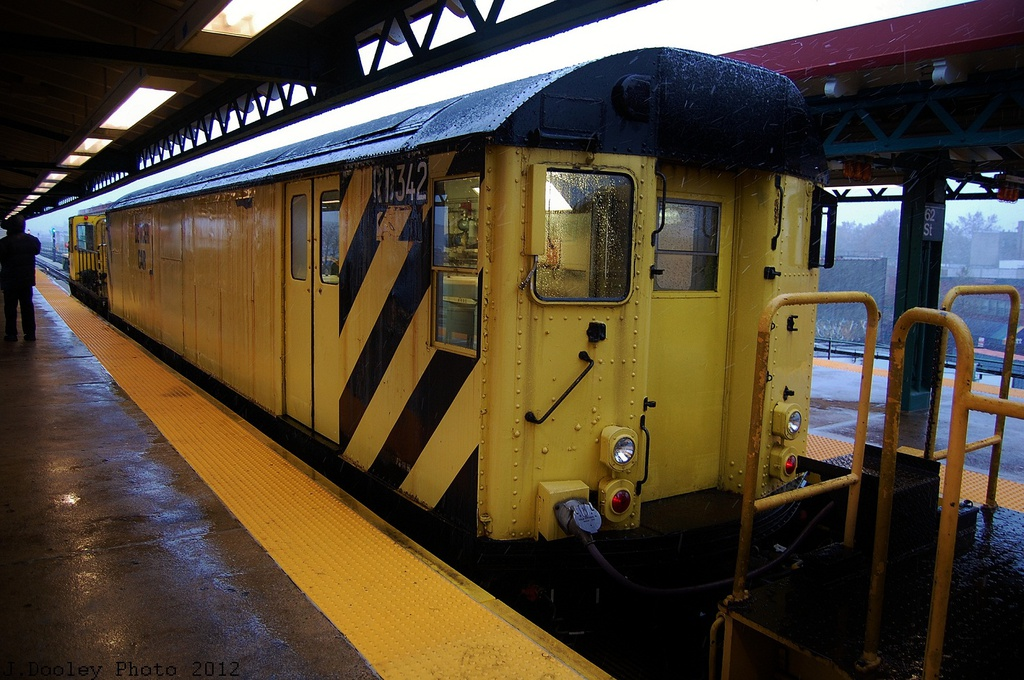 (350k, 1024x680)<br><b>Country:</b> United States<br><b>City:</b> New York<br><b>System:</b> New York City Transit<br><b>Line:</b> BMT West End Line<br><b>Location:</b> 62nd Street <br><b>Route:</b> Work Service<br><b>Car:</b> R-71 Rider Car (R-17/R-21/R-22 Rebuilds)  RD342 <br><b>Photo by:</b> John Dooley<br><b>Date:</b> 11/7/2012<br><b>Notes:</b> De-Icer train.<br><b>Viewed (this week/total):</b> 1 / 209