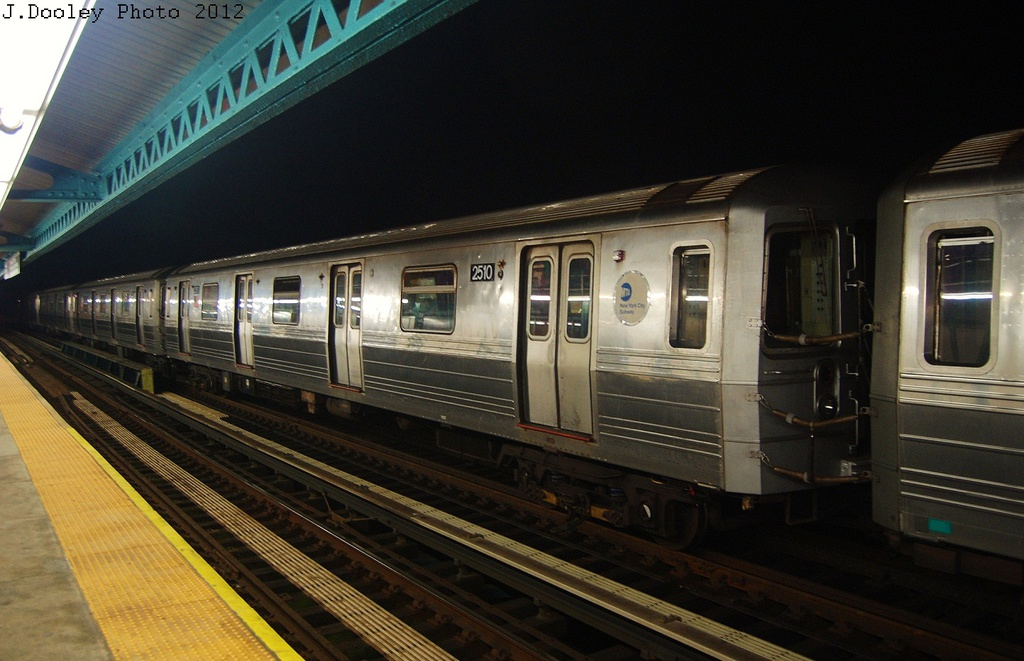 (289k, 1024x661)<br><b>Country:</b> United States<br><b>City:</b> New York<br><b>System:</b> New York City Transit<br><b>Line:</b> BMT West End Line<br><b>Location:</b> 18th Avenue <br><b>Car:</b> R-68 (Westinghouse-Amrail, 1986-1988)  2510 <br><b>Photo by:</b> John Dooley<br><b>Date:</b> 11/12/2012<br><b>Notes:</b> Post-Sandy layups due to Coney Island Yard cleanup<br><b>Viewed (this week/total):</b> 4 / 910