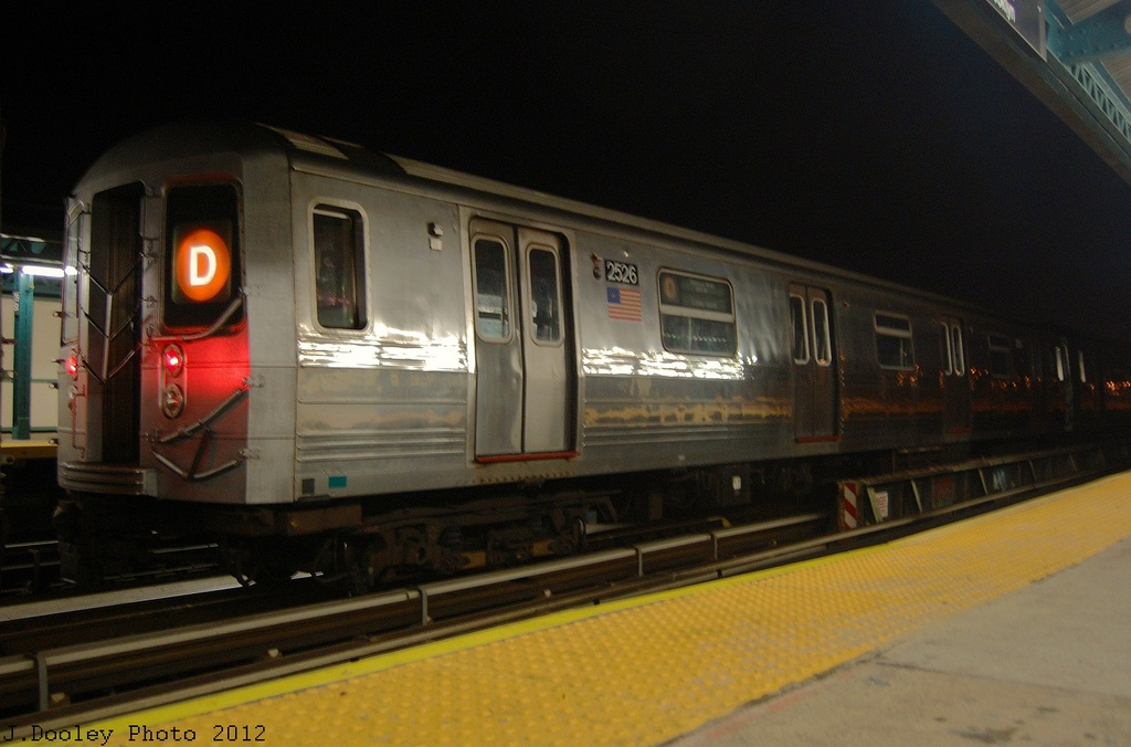 (259k, 1024x676)<br><b>Country:</b> United States<br><b>City:</b> New York<br><b>System:</b> New York City Transit<br><b>Line:</b> BMT West End Line<br><b>Location:</b> 79th Street <br><b>Car:</b> R-68 (Westinghouse-Amrail, 1986-1988)  2526 <br><b>Photo by:</b> John Dooley<br><b>Date:</b> 11/12/2012<br><b>Notes:</b> Post-Sandy layups due to Coney Island Yard cleanup<br><b>Viewed (this week/total):</b> 1 / 233