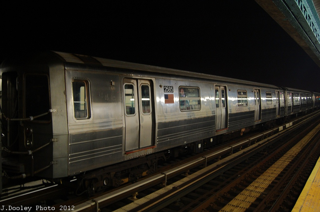 (253k, 1024x680)<br><b>Country:</b> United States<br><b>City:</b> New York<br><b>System:</b> New York City Transit<br><b>Line:</b> BMT West End Line<br><b>Location:</b> 79th Street <br><b>Car:</b> R-68 (Westinghouse-Amrail, 1986-1988)  2585 <br><b>Photo by:</b> John Dooley<br><b>Date:</b> 11/12/2012<br><b>Notes:</b> Post-Sandy layups due to Coney Island Yard cleanup<br><b>Viewed (this week/total):</b> 0 / 170