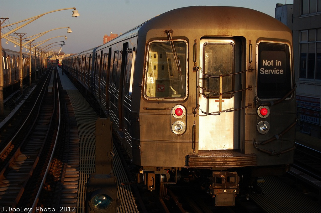 (307k, 1024x680)<br><b>Country:</b> United States<br><b>City:</b> New York<br><b>System:</b> New York City Transit<br><b>Line:</b> BMT Brighton Line<br><b>Location:</b> Ocean Parkway <br><b>Car:</b> R-68/R-68A Series (Number Unknown)  <br><b>Photo by:</b> John Dooley<br><b>Date:</b> 11/11/2012<br><b>Notes:</b> Post-Sandy layups due to Coney Island Yard cleanup<br><b>Viewed (this week/total):</b> 3 / 786