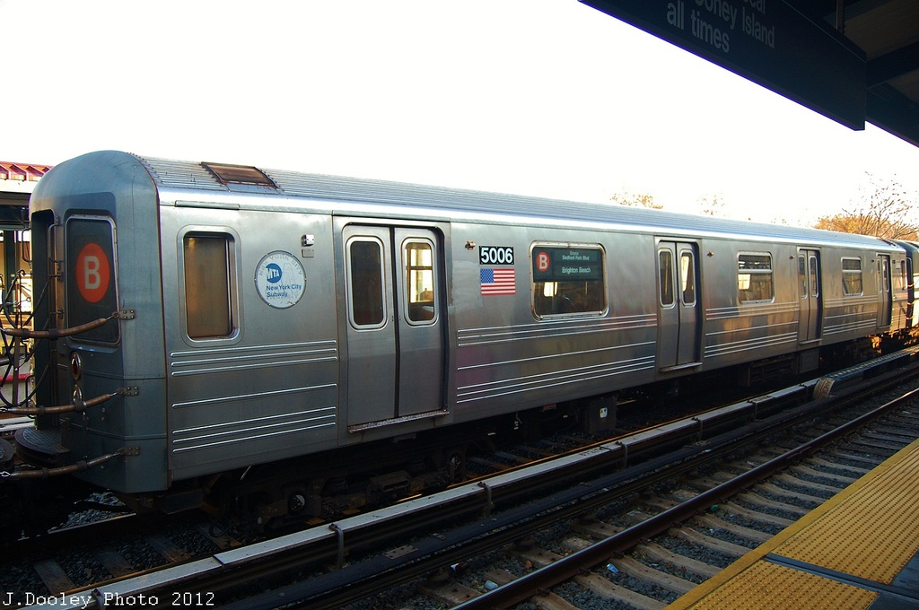 (284k, 1024x680)<br><b>Country:</b> United States<br><b>City:</b> New York<br><b>System:</b> New York City Transit<br><b>Line:</b> BMT Brighton Line<br><b>Location:</b> Neck Road <br><b>Car:</b> R-68A (Kawasaki, 1988-1989)  5006 <br><b>Photo by:</b> John Dooley<br><b>Date:</b> 11/11/2012<br><b>Notes:</b> Post-Sandy layups due to Coney Island Yard cleanup<br><b>Viewed (this week/total):</b> 1 / 783
