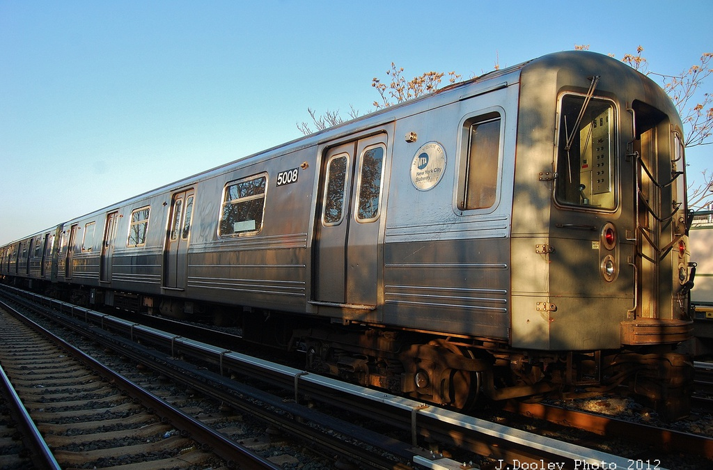 (329k, 1024x675)<br><b>Country:</b> United States<br><b>City:</b> New York<br><b>System:</b> New York City Transit<br><b>Line:</b> BMT Brighton Line<br><b>Location:</b> Neck Road <br><b>Car:</b> R-68A (Kawasaki, 1988-1989)  5008 <br><b>Photo by:</b> John Dooley<br><b>Date:</b> 11/11/2012<br><b>Notes:</b> Post-Sandy layups due to Coney Island Yard cleanup<br><b>Viewed (this week/total):</b> 1 / 114