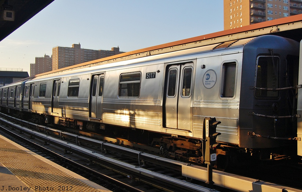 (331k, 1024x650)<br><b>Country:</b> United States<br><b>City:</b> New York<br><b>System:</b> New York City Transit<br><b>Line:</b> BMT Brighton Line<br><b>Location:</b> Ocean Parkway <br><b>Car:</b> R-68A (Kawasaki, 1988-1989)  5117 <br><b>Photo by:</b> John Dooley<br><b>Date:</b> 11/11/2012<br><b>Notes:</b> Post-Sandy layups due to Coney Island Yard cleanup<br><b>Viewed (this week/total):</b> 0 / 110