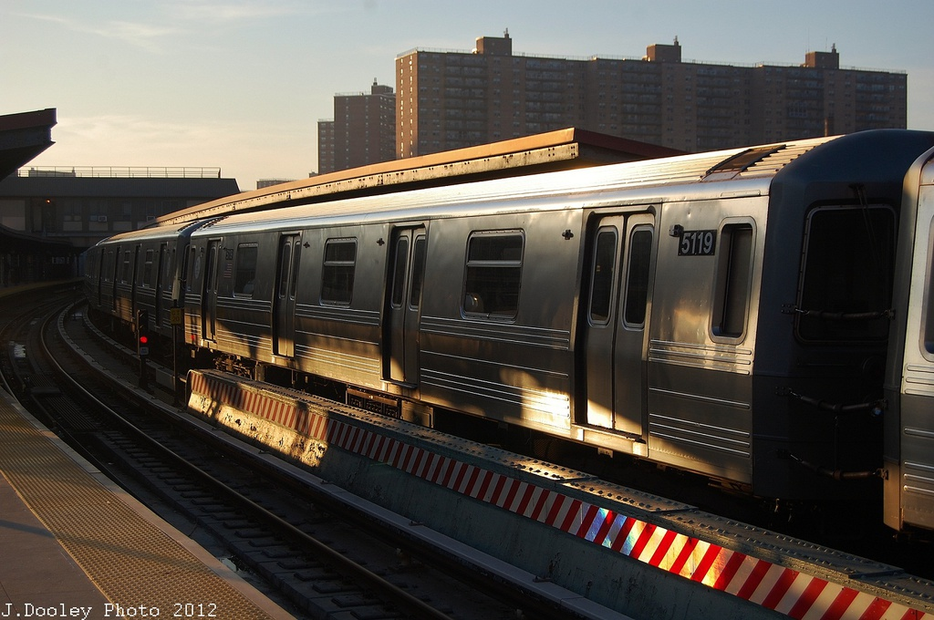 (305k, 1024x680)<br><b>Country:</b> United States<br><b>City:</b> New York<br><b>System:</b> New York City Transit<br><b>Line:</b> BMT Brighton Line<br><b>Location:</b> Ocean Parkway <br><b>Car:</b> R-68A (Kawasaki, 1988-1989)  5119 <br><b>Photo by:</b> John Dooley<br><b>Date:</b> 11/11/2012<br><b>Notes:</b> Post-Sandy layups due to Coney Island Yard cleanup<br><b>Viewed (this week/total):</b> 0 / 93