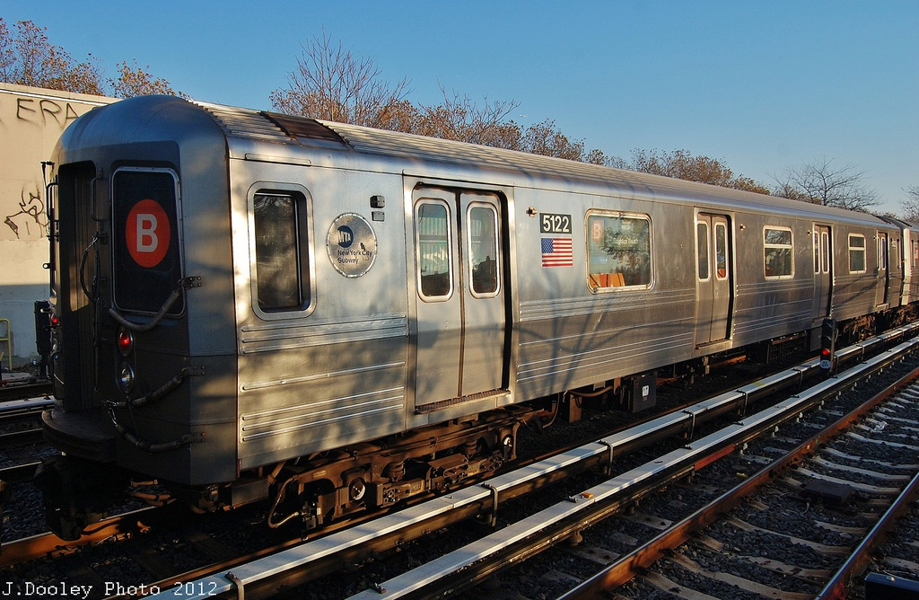 (366k, 1024x668)<br><b>Country:</b> United States<br><b>City:</b> New York<br><b>System:</b> New York City Transit<br><b>Line:</b> BMT Brighton Line<br><b>Location:</b> Neck Road <br><b>Car:</b> R-68A (Kawasaki, 1988-1989)  5122 <br><b>Photo by:</b> John Dooley<br><b>Date:</b> 11/11/2012<br><b>Notes:</b> Post-Sandy layups due to Coney Island Yard cleanup<br><b>Viewed (this week/total):</b> 5 / 368