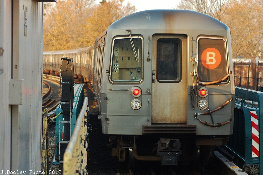 (310k, 1024x680)<br><b>Country:</b> United States<br><b>City:</b> New York<br><b>System:</b> New York City Transit<br><b>Line:</b> BMT Brighton Line<br><b>Location:</b> Sheepshead Bay <br><b>Car:</b> R-68A (Kawasaki, 1988-1989)  5184 <br><b>Photo by:</b> John Dooley<br><b>Date:</b> 11/11/2012<br><b>Notes:</b> Post-Sandy layups due to Coney Island Yard cleanup<br><b>Viewed (this week/total):</b> 3 / 590