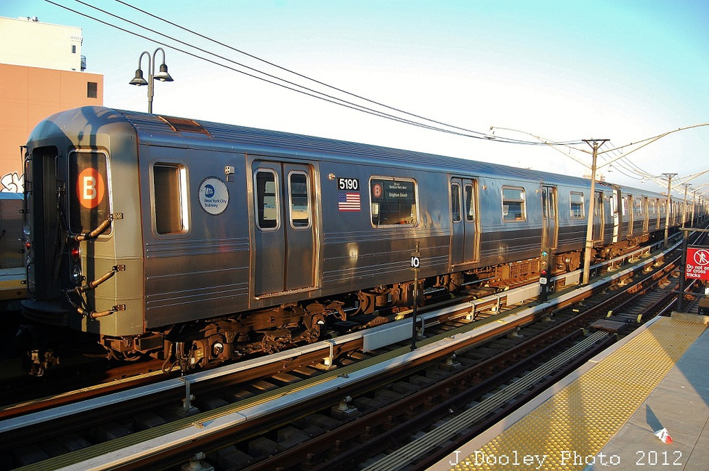 (366k, 1024x680)<br><b>Country:</b> United States<br><b>City:</b> New York<br><b>System:</b> New York City Transit<br><b>Line:</b> BMT Brighton Line<br><b>Location:</b> Ocean Parkway <br><b>Car:</b> R-68A (Kawasaki, 1988-1989)  5190 <br><b>Photo by:</b> John Dooley<br><b>Date:</b> 11/11/2012<br><b>Notes:</b> Post-Sandy layups due to Coney Island Yard cleanup<br><b>Viewed (this week/total):</b> 0 / 241