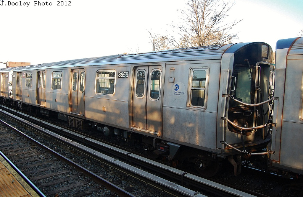 (333k, 1024x668)<br><b>Country:</b> United States<br><b>City:</b> New York<br><b>System:</b> New York City Transit<br><b>Line:</b> BMT Brighton Line<br><b>Location:</b> Avenue M <br><b>Route:</b> Layup<br><b>Car:</b> R-160A-2 (Alstom, 2005-2008, 5 car sets)  8658 <br><b>Photo by:</b> John Dooley<br><b>Date:</b> 11/11/2012<br><b>Notes:</b> Post-Sandy layups due to cleanup of Coney Island yard.<br><b>Viewed (this week/total):</b> 3 / 325