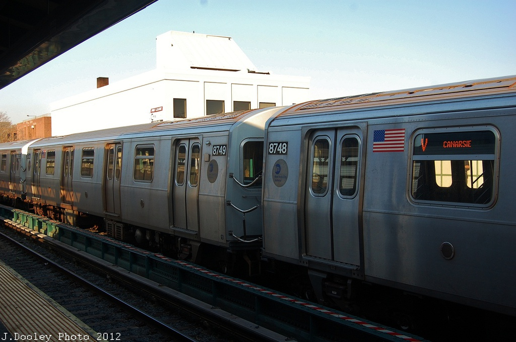 (282k, 1024x680)<br><b>Country:</b> United States<br><b>City:</b> New York<br><b>System:</b> New York City Transit<br><b>Line:</b> BMT Brighton Line<br><b>Location:</b> Avenue M <br><b>Route:</b> Layup<br><b>Car:</b> R-160B (Kawasaki, 2005-2008)  8749 <br><b>Photo by:</b> John Dooley<br><b>Date:</b> 11/11/2012<br><b>Notes:</b> Post-Sandy layups due to cleanup of Coney Island yard.<br><b>Viewed (this week/total):</b> 0 / 542