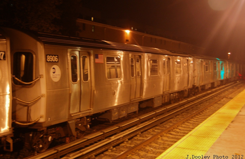 (272k, 1024x665)<br><b>Country:</b> United States<br><b>City:</b> New York<br><b>System:</b> New York City Transit<br><b>Line:</b> BMT Brighton Line<br><b>Location:</b> Avenue H <br><b>Route:</b> Layup<br><b>Car:</b> R-160B (Kawasaki, 2005-2008)  8906 <br><b>Photo by:</b> John Dooley<br><b>Date:</b> 11/12/2012<br><b>Notes:</b> Post-Sandy layups due to cleanup of Coney Island yard.<br><b>Viewed (this week/total):</b> 1 / 651