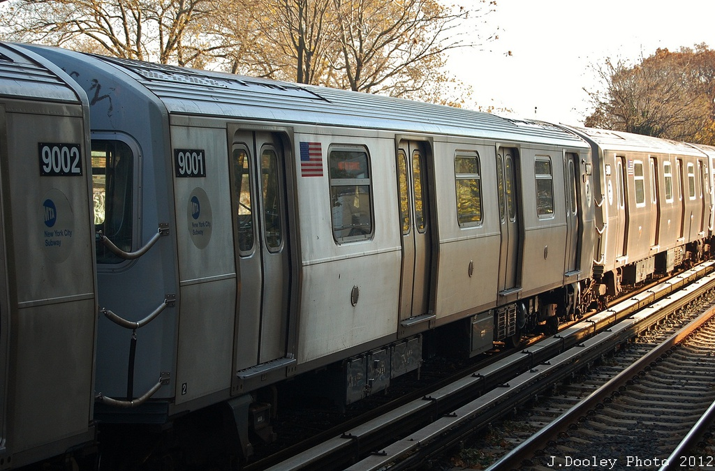 (370k, 1024x675)<br><b>Country:</b> United States<br><b>City:</b> New York<br><b>System:</b> New York City Transit<br><b>Line:</b> BMT Brighton Line<br><b>Location:</b> Avenue J <br><b>Route:</b> Layup<br><b>Car:</b> R-160B (Option 1) (Kawasaki, 2008-2009)  9001 <br><b>Photo by:</b> John Dooley<br><b>Date:</b> 11/11/2012<br><b>Notes:</b> Post-Sandy layups due to cleanup of Coney Island yard.<br><b>Viewed (this week/total):</b> 4 / 147