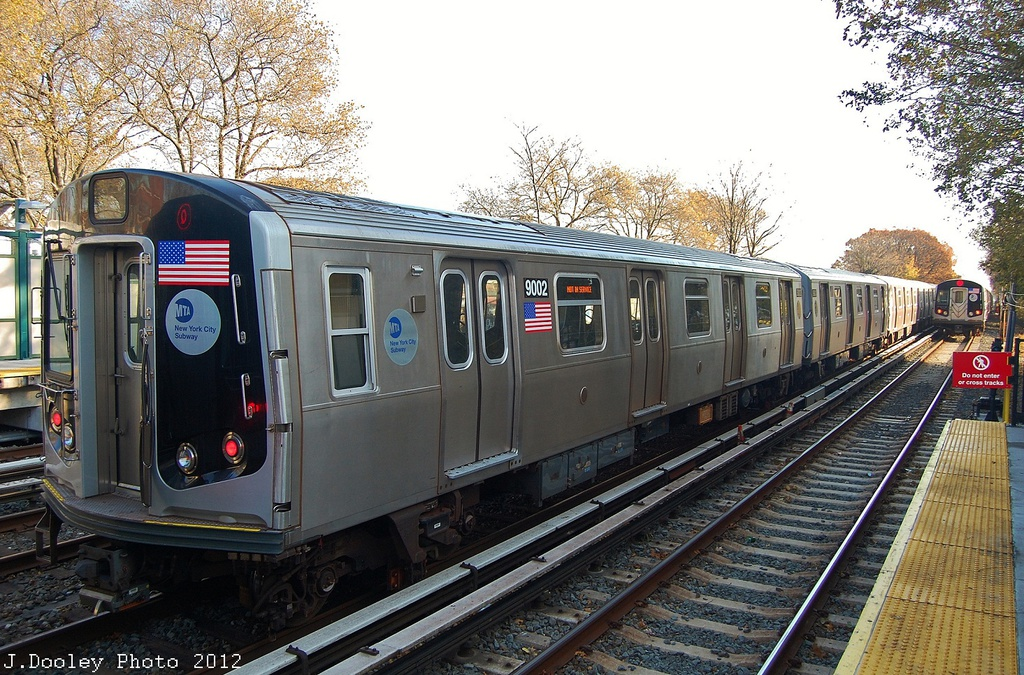 (411k, 1024x675)<br><b>Country:</b> United States<br><b>City:</b> New York<br><b>System:</b> New York City Transit<br><b>Line:</b> BMT Brighton Line<br><b>Location:</b> Avenue J <br><b>Route:</b> Layup<br><b>Car:</b> R-160B (Option 1) (Kawasaki, 2008-2009)  9002 <br><b>Photo by:</b> John Dooley<br><b>Date:</b> 11/11/2012<br><b>Notes:</b> Post-Sandy layups due to cleanup of Coney Island yard.<br><b>Viewed (this week/total):</b> 4 / 285