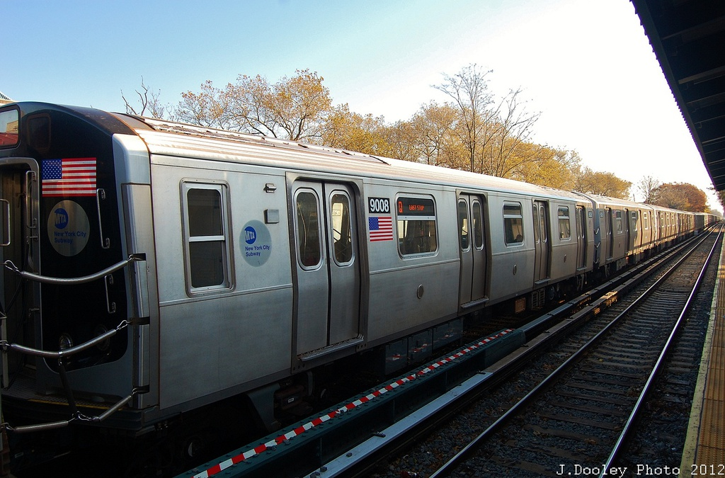 (329k, 1024x675)<br><b>Country:</b> United States<br><b>City:</b> New York<br><b>System:</b> New York City Transit<br><b>Line:</b> BMT Brighton Line<br><b>Location:</b> Avenue J <br><b>Route:</b> Layup<br><b>Car:</b> R-160B (Option 1) (Kawasaki, 2008-2009)  9008 <br><b>Photo by:</b> John Dooley<br><b>Date:</b> 11/11/2012<br><b>Notes:</b> Post-Sandy layups due to cleanup of Coney Island yard.<br><b>Viewed (this week/total):</b> 2 / 160
