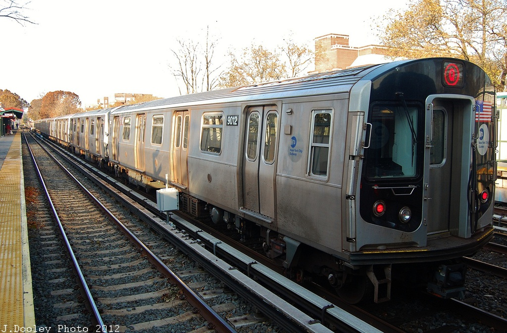 (375k, 1024x672)<br><b>Country:</b> United States<br><b>City:</b> New York<br><b>System:</b> New York City Transit<br><b>Line:</b> BMT Brighton Line<br><b>Location:</b> Avenue J <br><b>Route:</b> Layup<br><b>Car:</b> R-160B (Option 1) (Kawasaki, 2008-2009)  9012 <br><b>Photo by:</b> John Dooley<br><b>Date:</b> 11/11/2012<br><b>Notes:</b> Post-Sandy layups due to cleanup of Coney Island yard.<br><b>Viewed (this week/total):</b> 3 / 249