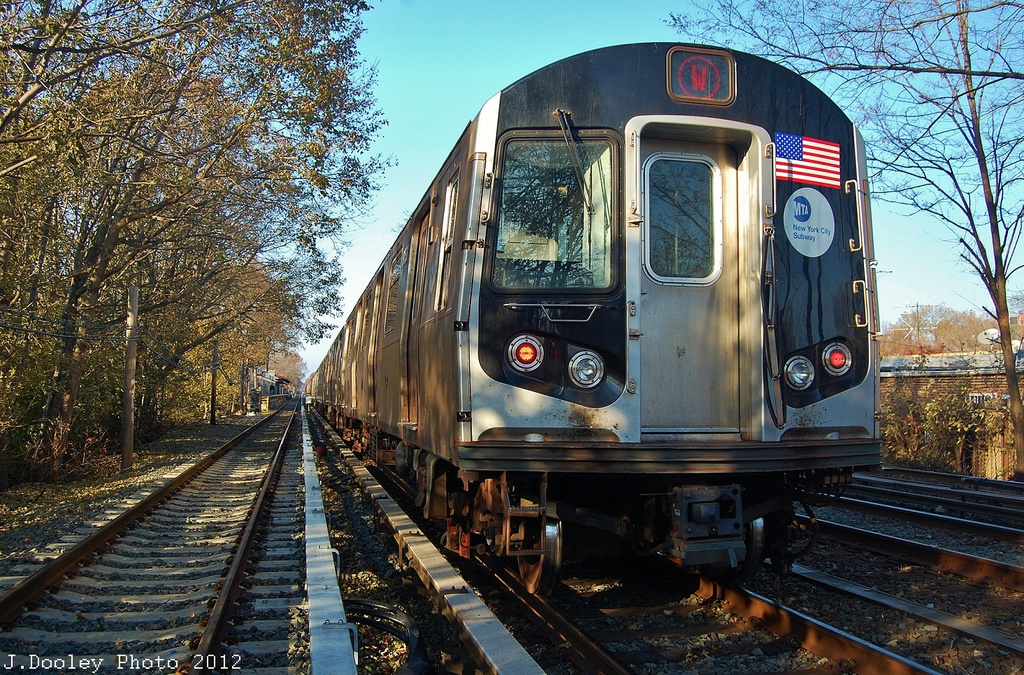 (494k, 1024x675)<br><b>Country:</b> United States<br><b>City:</b> New York<br><b>System:</b> New York City Transit<br><b>Line:</b> BMT Brighton Line<br><b>Location:</b> Avenue M <br><b>Route:</b> Layup<br><b>Car:</b> R-160B (Option 1) (Kawasaki, 2008-2009)  9158 <br><b>Photo by:</b> John Dooley<br><b>Date:</b> 11/11/2012<br><b>Notes:</b> Post-Sandy layups due to cleanup of Coney Island yard.<br><b>Viewed (this week/total):</b> 0 / 476