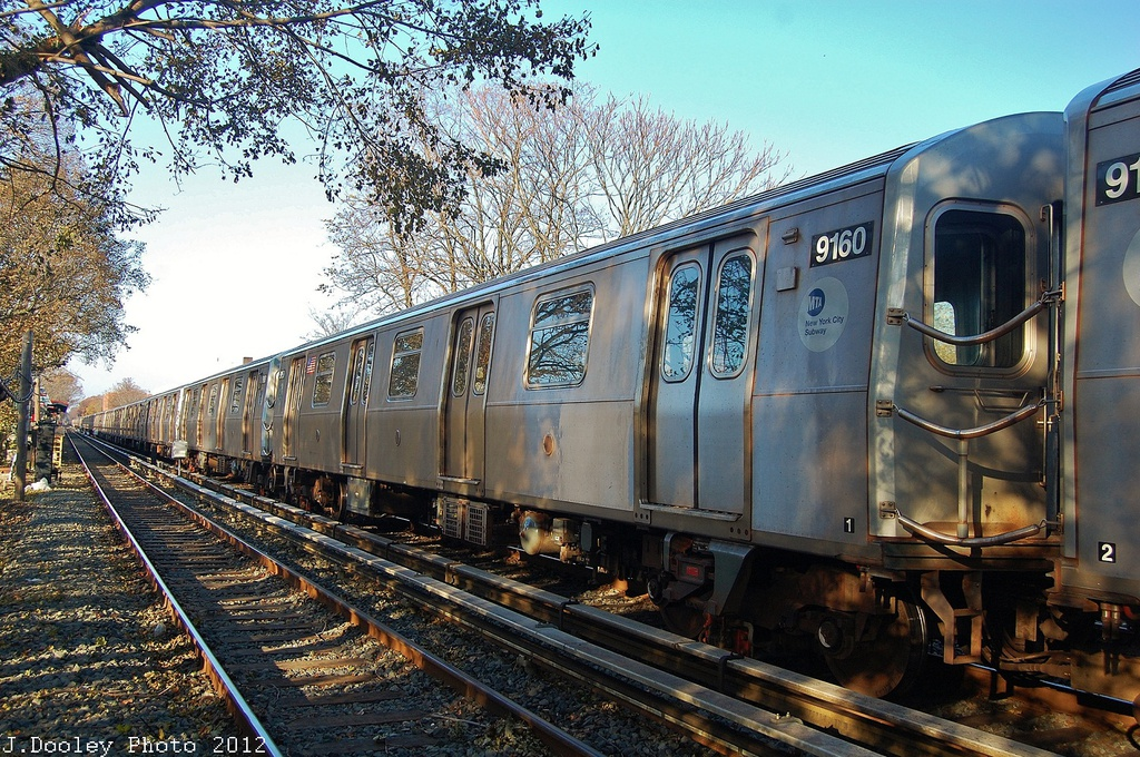 (460k, 1024x680)<br><b>Country:</b> United States<br><b>City:</b> New York<br><b>System:</b> New York City Transit<br><b>Line:</b> BMT Brighton Line<br><b>Location:</b> Avenue M <br><b>Route:</b> Layup<br><b>Car:</b> R-160B (Option 1) (Kawasaki, 2008-2009)  9160 <br><b>Photo by:</b> John Dooley<br><b>Date:</b> 11/11/2012<br><b>Notes:</b> Post-Sandy layups due to cleanup of Coney Island yard.<br><b>Viewed (this week/total):</b> 0 / 226