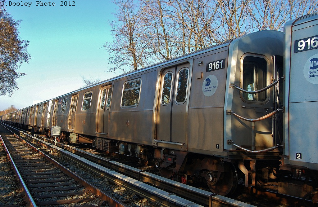 (418k, 1024x668)<br><b>Country:</b> United States<br><b>City:</b> New York<br><b>System:</b> New York City Transit<br><b>Line:</b> BMT Brighton Line<br><b>Location:</b> Avenue M <br><b>Route:</b> Layup<br><b>Car:</b> R-160B (Option 1) (Kawasaki, 2008-2009)  9161 <br><b>Photo by:</b> John Dooley<br><b>Date:</b> 11/11/2012<br><b>Notes:</b> Post-Sandy layups due to cleanup of Coney Island yard.<br><b>Viewed (this week/total):</b> 4 / 147