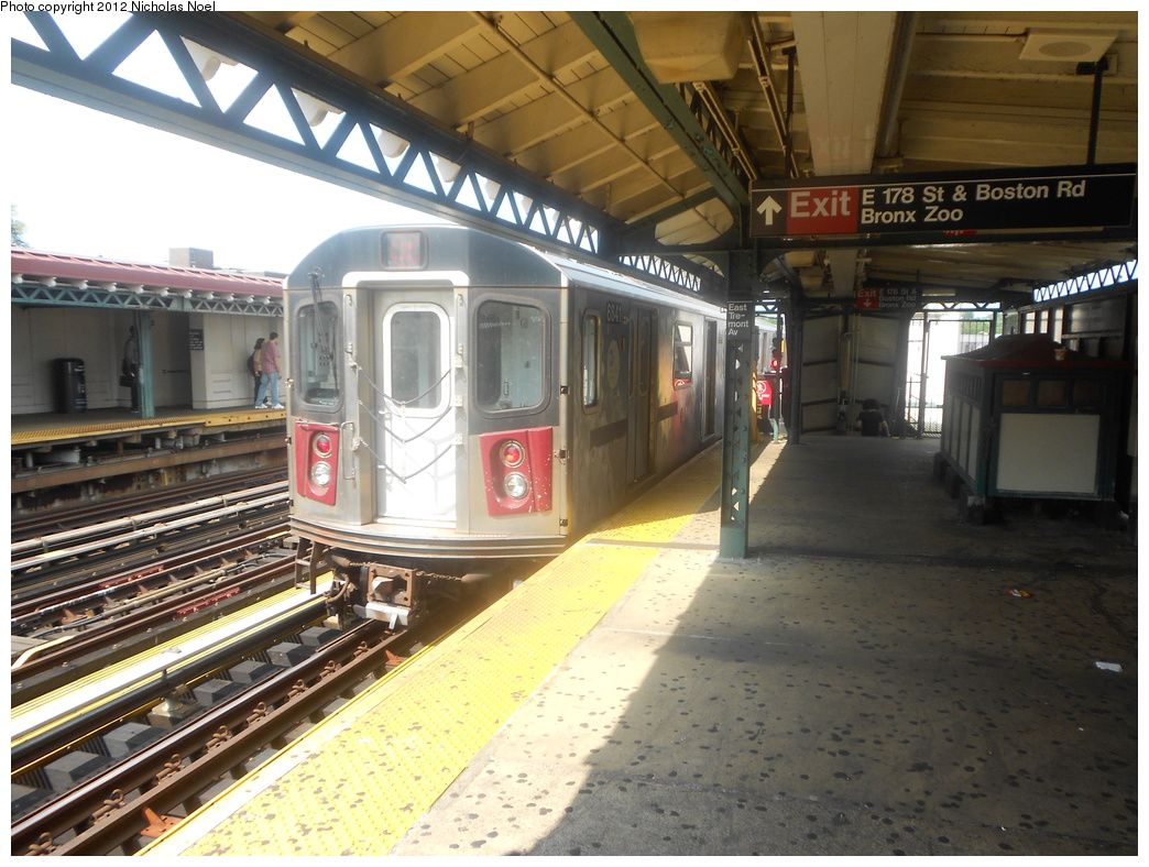 (397k, 1044x788)<br><b>Country:</b> United States<br><b>City:</b> New York<br><b>System:</b> New York City Transit<br><b>Line:</b> IRT White Plains Road Line<br><b>Location:</b> West Farms Sq./East Tremont Ave./177th St. <br><b>Route:</b> 2<br><b>Car:</b> R-142 or R-142A (Number Unknown)  <br><b>Photo by:</b> Nicholas Noel<br><b>Date:</b> 8/2/2012<br><b>Viewed (this week/total):</b> 2 / 449