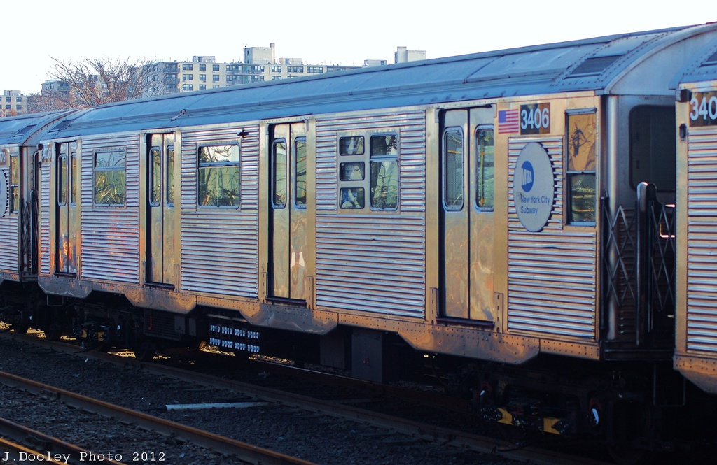 (315k, 1024x665)<br><b>Country:</b> United States<br><b>City:</b> New York<br><b>System:</b> New York City Transit<br><b>Location:</b> Rockaway Park Yard<br><b>Car:</b> R-32 (Budd, 1964)  3406 <br><b>Photo by:</b> John Dooley<br><b>Date:</b> 11/18/2012<br><b>Viewed (this week/total):</b> 2 / 442