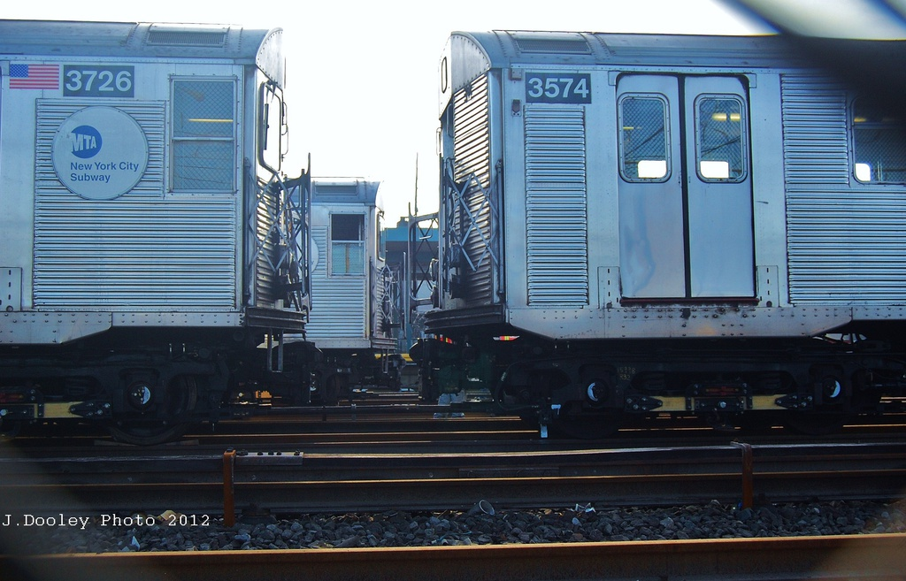 (297k, 1024x657)<br><b>Country:</b> United States<br><b>City:</b> New York<br><b>System:</b> New York City Transit<br><b>Location:</b> Rockaway Park Yard<br><b>Car:</b> R-32 (Budd, 1964)  3574 <br><b>Photo by:</b> John Dooley<br><b>Date:</b> 11/18/2012<br><b>Viewed (this week/total):</b> 5 / 721
