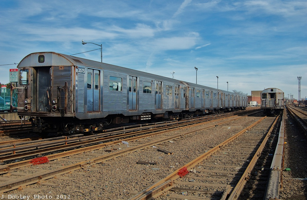 (375k, 1024x668)<br><b>Country:</b> United States<br><b>City:</b> New York<br><b>System:</b> New York City Transit<br><b>Location:</b> Rockaway Park Yard<br><b>Car:</b> R-32 (Budd, 1964)  3575 <br><b>Photo by:</b> John Dooley<br><b>Date:</b> 11/20/2012<br><b>Viewed (this week/total):</b> 2 / 381
