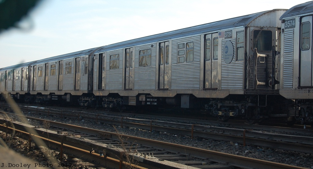 (260k, 1024x553)<br><b>Country:</b> United States<br><b>City:</b> New York<br><b>System:</b> New York City Transit<br><b>Location:</b> Rockaway Park Yard<br><b>Car:</b> R-32 (Budd, 1964)  3726 <br><b>Photo by:</b> John Dooley<br><b>Date:</b> 11/18/2012<br><b>Viewed (this week/total):</b> 1 / 346