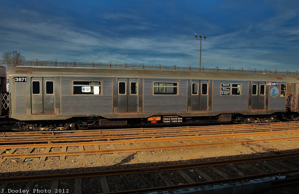 (346k, 1024x667)<br><b>Country:</b> United States<br><b>City:</b> New York<br><b>System:</b> New York City Transit<br><b>Location:</b> Rockaway Park Yard<br><b>Car:</b> R-32 (Budd, 1964)  3871 <br><b>Photo by:</b> John Dooley<br><b>Date:</b> 11/20/2012<br><b>Viewed (this week/total):</b> 1 / 247