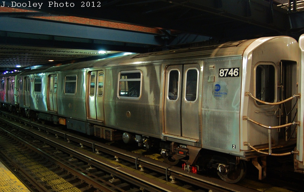 (309k, 1024x649)<br><b>Country:</b> United States<br><b>City:</b> New York<br><b>System:</b> New York City Transit<br><b>Location:</b> Coney Island/Stillwell Avenue<br><b>Car:</b> R-160B (Kawasaki, 2005-2008)  8746 <br><b>Photo by:</b> John Dooley<br><b>Date:</b> 11/8/2012<br><b>Notes:</b> Post Hurricane Sandy layups.<br><b>Viewed (this week/total):</b> 0 / 314