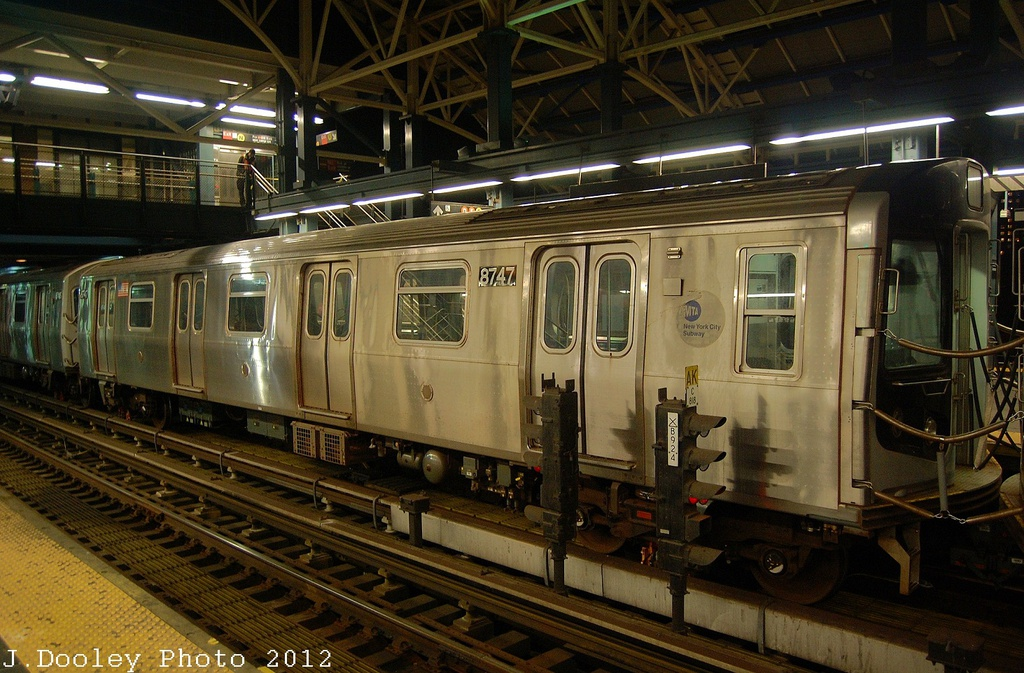 (364k, 1024x673)<br><b>Country:</b> United States<br><b>City:</b> New York<br><b>System:</b> New York City Transit<br><b>Location:</b> Coney Island/Stillwell Avenue<br><b>Car:</b> R-160B (Kawasaki, 2005-2008)  8747 <br><b>Photo by:</b> John Dooley<br><b>Date:</b> 11/8/2012<br><b>Notes:</b> Post Hurricane Sandy layups.<br><b>Viewed (this week/total):</b> 2 / 363