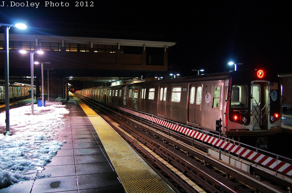 (361k, 1024x680)<br><b>Country:</b> United States<br><b>City:</b> New York<br><b>System:</b> New York City Transit<br><b>Location:</b> Coney Island/Stillwell Avenue<br><b>Route:</b> F<br><b>Car:</b> R-160A (Option 1) (Alstom, 2008-2009, 5 car sets)  9398 <br><b>Photo by:</b> John Dooley<br><b>Date:</b> 11/8/2012<br><b>Viewed (this week/total):</b> 4 / 551