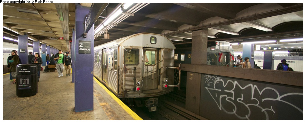 (170k, 1044x420)<br><b>Country:</b> United States<br><b>City:</b> New York<br><b>System:</b> New York City Transit<br><b>Line:</b> IND 6th Avenue Line<br><b>Location:</b> 2nd Avenue <br><b>Route:</b> C reroute<br><b>Car:</b> R-32 (Budd, 1964)  3933 <br><b>Photo by:</b> Richard Panse<br><b>Date:</b> 12/2/2012<br><b>Notes:</b> With R-6 1300 on Holiday Train<br><b>Viewed (this week/total):</b> 7 / 890