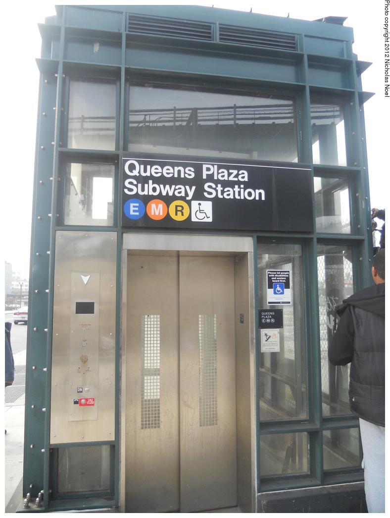 (151k, 788x1044)<br><b>Country:</b> United States<br><b>City:</b> New York<br><b>System:</b> New York City Transit<br><b>Line:</b> IND Queens Boulevard Line<br><b>Location:</b> Queens Plaza <br><b>Photo by:</b> Nicholas Noel<br><b>Date:</b> 12/2/2012<br><b>Notes:</b> Station entrance (elevator)<br><b>Viewed (this week/total):</b> 2 / 343