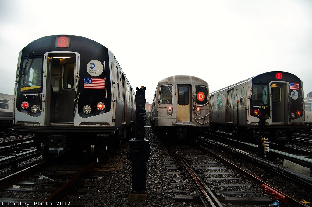 (279k, 1024x681)<br><b>Country:</b> United States<br><b>City:</b> New York<br><b>System:</b> New York City Transit<br><b>Location:</b> Coney Island Yard<br><b>Car:</b> R-160A/R-160B Series (Number Unknown)  <br><b>Photo by:</b> John Dooley<br><b>Date:</b> 12/9/2012<br><b>Notes:</b> l-to-r: R-160, R-68, and R-143<br><b>Viewed (this week/total):</b> 0 / 651