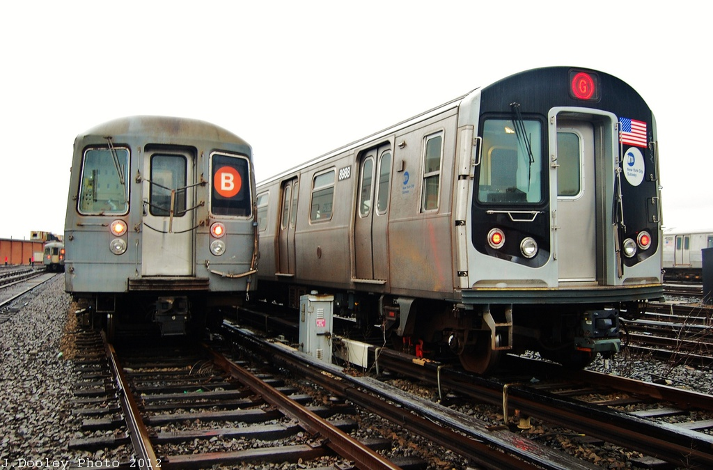 (289k, 1024x675)<br><b>Country:</b> United States<br><b>City:</b> New York<br><b>System:</b> New York City Transit<br><b>Location:</b> Coney Island Yard<br><b>Car:</b> R-160B (Option 1) (Kawasaki, 2008-2009)  8988 <br><b>Photo by:</b> John Dooley<br><b>Date:</b> 12/9/2012<br><b>Viewed (this week/total):</b> 0 / 457