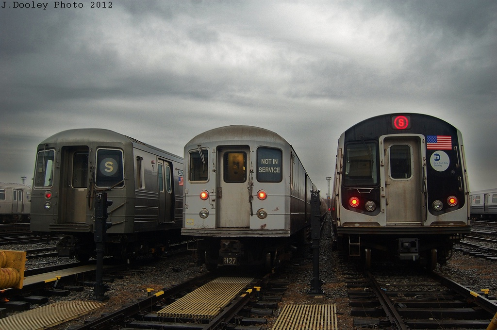 (281k, 1024x680)<br><b>Country:</b> United States<br><b>City:</b> New York<br><b>System:</b> New York City Transit<br><b>Location:</b> Coney Island Yard<br><b>Car:</b> R-68 (Westinghouse-Amrail, 1986-1988)  2920 <br><b>Photo by:</b> John Dooley<br><b>Date:</b> 12/9/2012<br><b>Notes:</b> With R-127 EP006 and R-160<br><b>Viewed (this week/total):</b> 11 / 1034